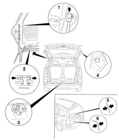 13.27 Снятие и установка двери задка (модели Хэтчбэк и Универсал)