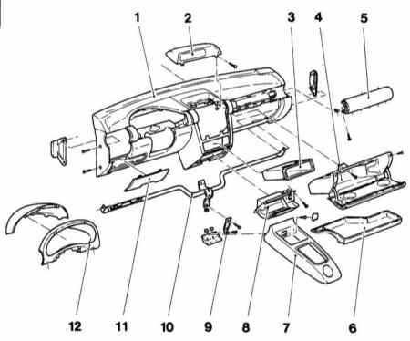 13.39 Снятие и установка панели приборов