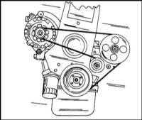 2.10 Проверка состояния, регулировка натяжения и замена приводного ремня (только для двигателей с регулировкой натяжения)