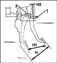 7.7 Регулировка высоты и свободного  хода педали