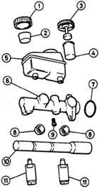 16.20 Ремонт главного тормозного цилиндра (модели без ABS) Opel Vectra A