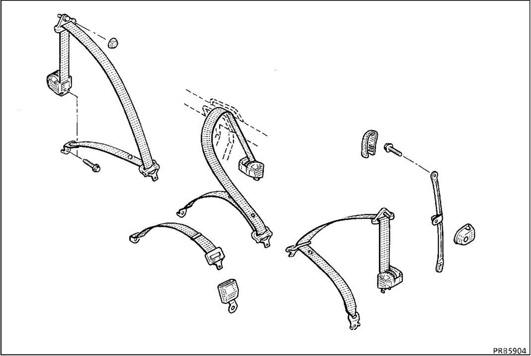 2.  Задние ремни безопасности
