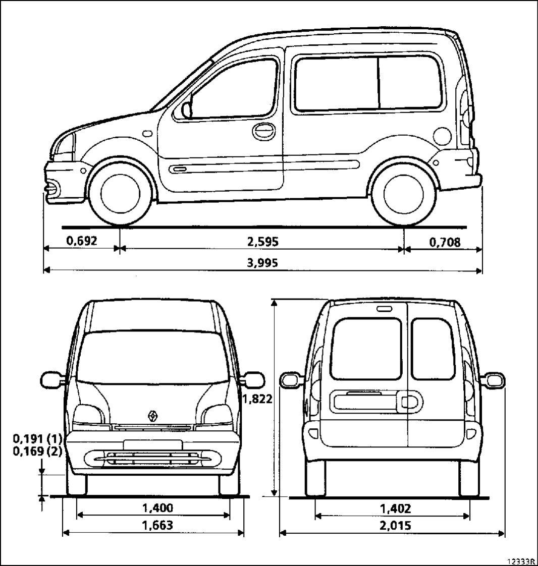 1.  Габаритные размеры автомобиля