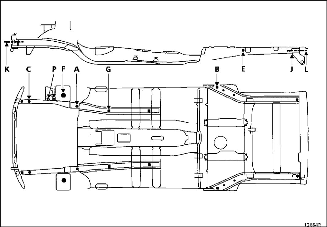 11.  Справочные размеры для проверки несущего основания кузова