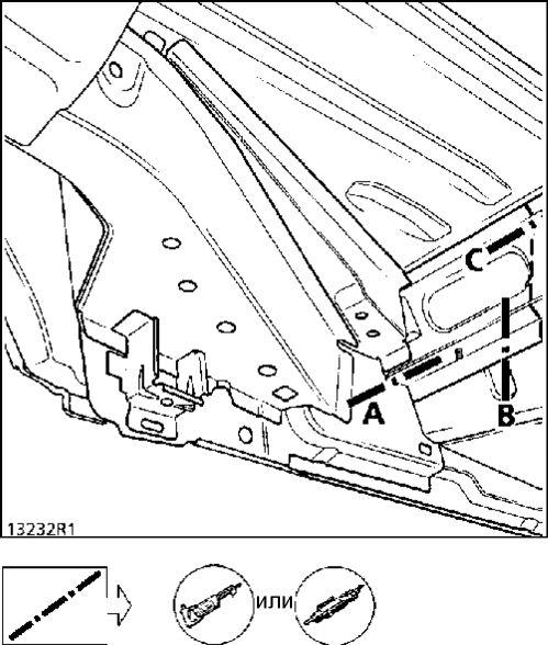 13.  Передняя часть поперечины задней части пола Renault Kangoo