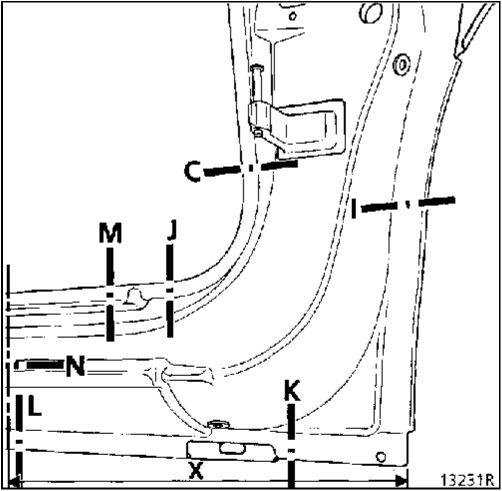 1.  Передняя стойка кузова Renault Kangoo
