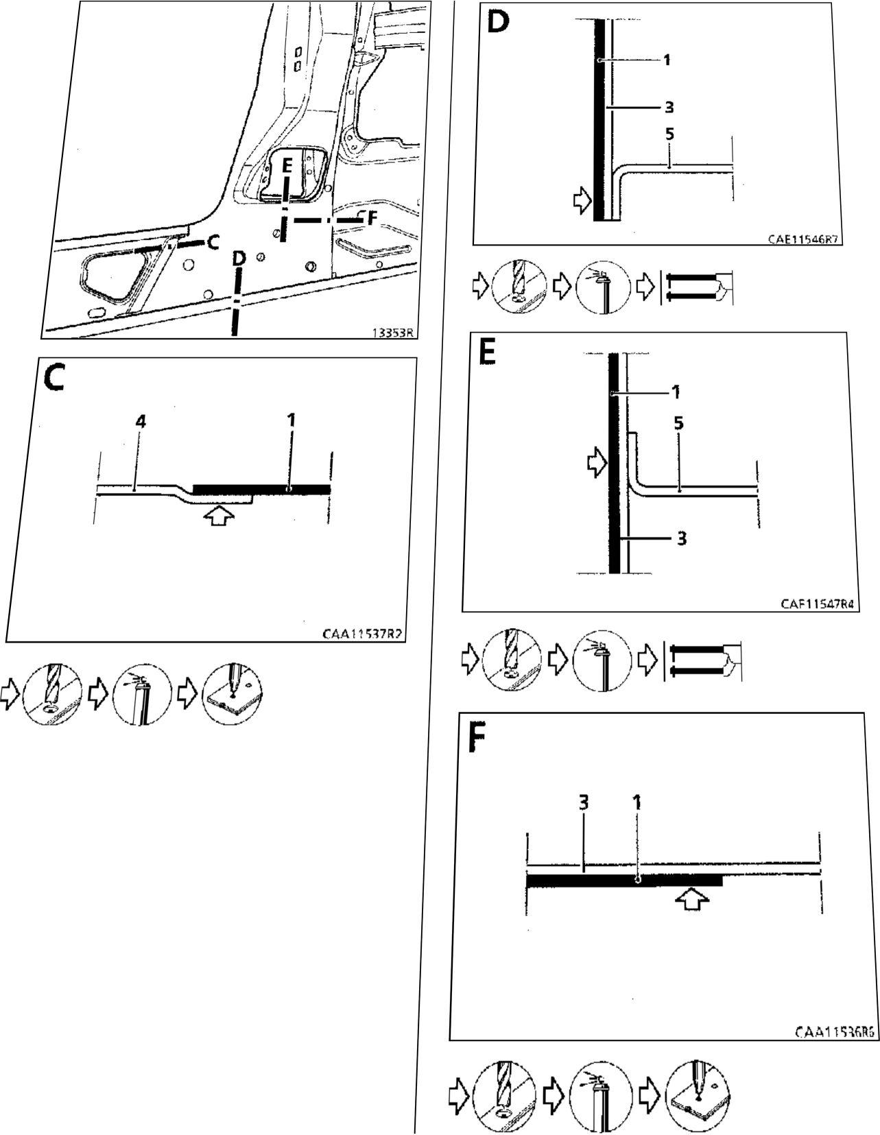 5.  Нижний усилитель центральной стойки кузова - стойка двери Renault Kangoo