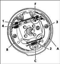 10.4 Замена колодок задних тормозных механизмов