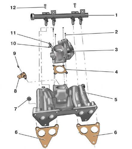4.12 Снятие и установка впускной трубы двигателя