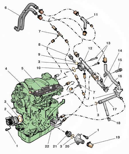 5.6 Снятие и установка водяного насоса на моделях с дизельными двигателями
