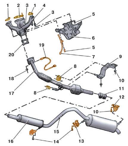 6.2 Снятие и установка приемной трубы глушителя (бензиновые   двигатели)