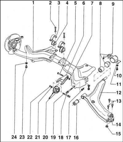 12.6 Снятие, капитальный ремонт и установка нижних рычагов передней