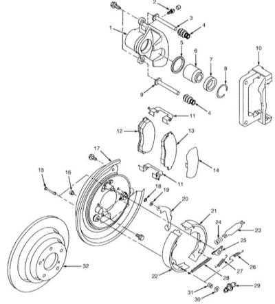 11.12 Снятие и установка компонентов сборки стояночного тормоза (модели с дисковыми тормозными механизмами задних колес)