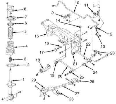 12.10 Снятие и установка поперечной балки (подрамника) задней подвески