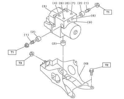 11.27 Снятие, установка и проверка исправности функционирования сборки   модуля управления/гидромодулятора ABS