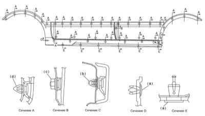 13.9 Снятие и установка боковых накладок кузовных панелей Subaru Legacy Outback