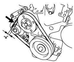 2.3.13 Проверка и регулировка натяжения приводного ремня насоса охлаждающей жидкости / генератора