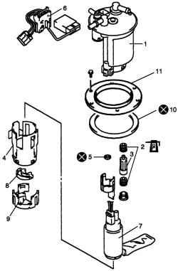2.5.18 Снятие и установка топливного насоса в сборе
