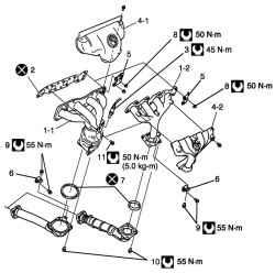 2.7.3 Снятие и установка выпускного коллектора