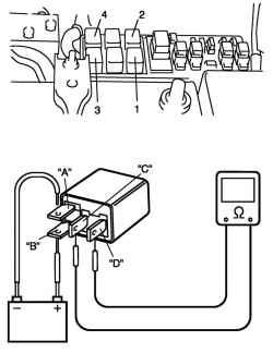 2.8.12 Главное реле, реле топливного насоса, реле компрессора системы кондиционирования воздуха и реле вентилятора конденсатора системы кондиционирования воздуха