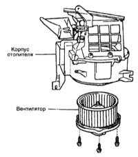 5.9 Проверка исправности функционирования приводного электромотора вентилятора   отопителя и его замена