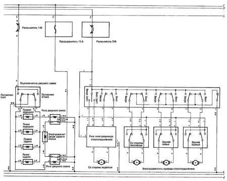 12.13 Замки и электропривод стеклоподъемника (а/м 1988-90 гг.) Toyota Land Cruiser