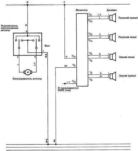 12.14 Аудиосистема, электрооборудование системы охлаждения (а/м 1988-90 гг.)