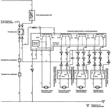 12.20 Электропривод стеклоподъемника   (с 1989 г.) Toyota Land Cruiser