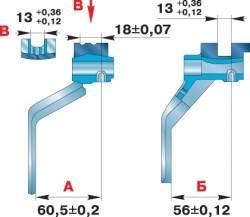 Контpольные pазмеpы вилок пеpеключения пеpедач коробки передач, синхронизированной частично