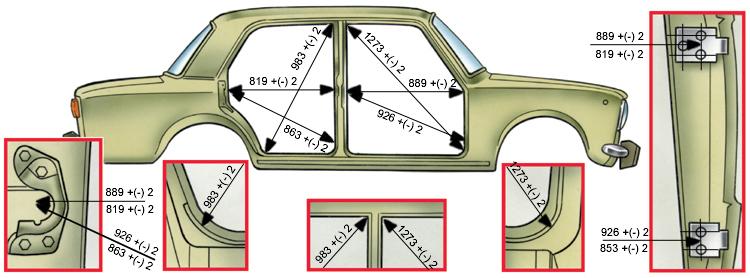 геометрия кузова ваз 2110 контрольные точки