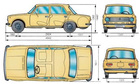 1.2 Основные габаритные размеры автомобиля ВАЗ–21011
