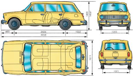 1.3 Основные габаритные размеры автомобиля ВАЗ–2102