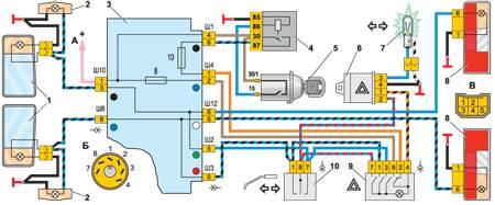 12.9 Схема включения указателей поворота и аварийной сигнализации