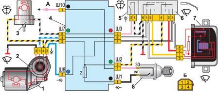 12.8 Схема включения очистителя и омывателя ветрового стекла