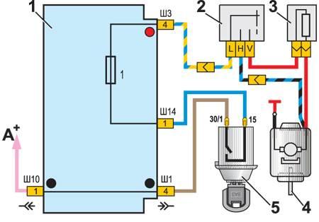 12.7 Схема включения электродвигателя вентилятора отопителя