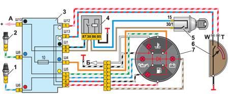 12.4 Схема соединения комбинации приборов