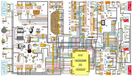 7.16 Схема электрооборудования автомобиля ВАЗ-21102