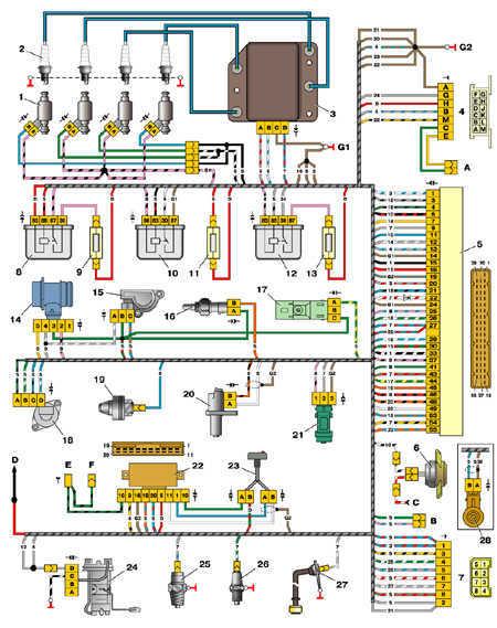 7.18 Схема управления двигателем 2111 (конт.М1.5.4)