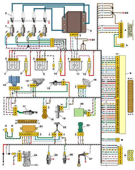 7.19 Схема управления двигателем 2111 (конт. МР7.0)
