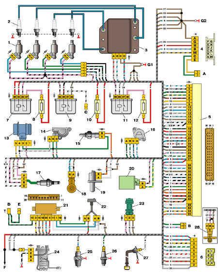 7.20 Схема управления двигателями 2111 и 2112 (конт. М1.5.4N, «Январь-5.1»)
