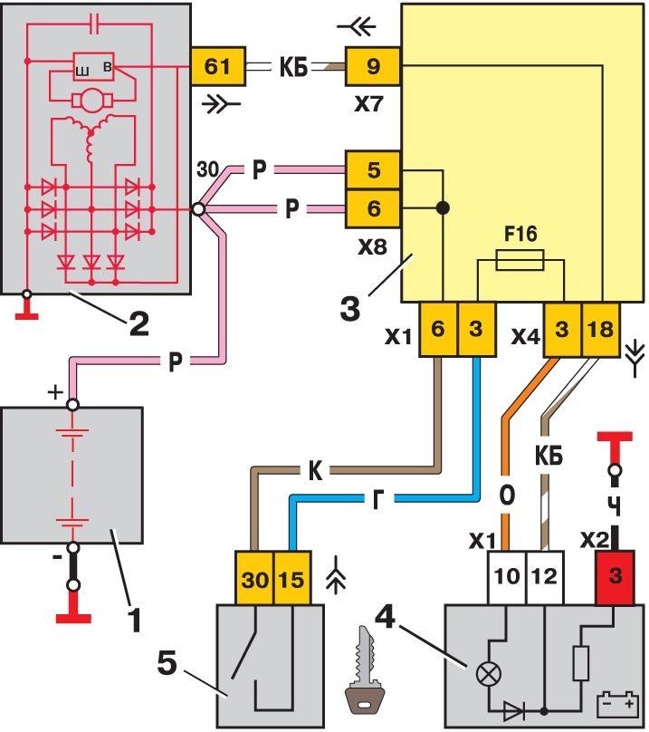Схема подключения генератора ваз 2111 инжектор6
