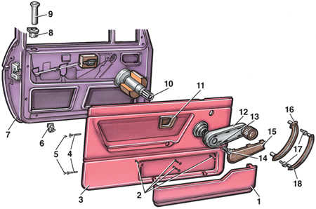 11.16 Обивка панели двери Volkswagen Golf II