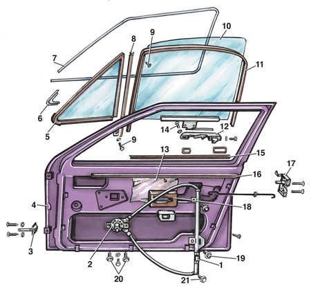 11.17 Стекло двери Volkswagen Golf II