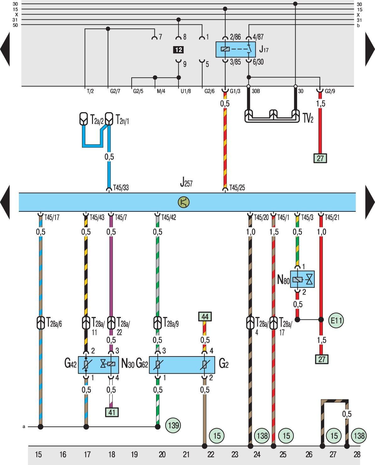 схема электрооборудования гольф 3