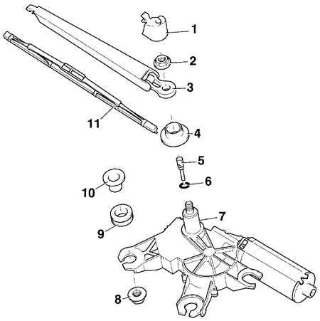 13.32.8 Снятие и установка двигателя стеклоочистителя заднего стекла