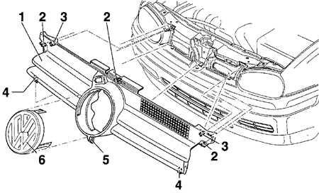 13.13 Снятие и установка решетки радиатора Volkswagen Golf IV