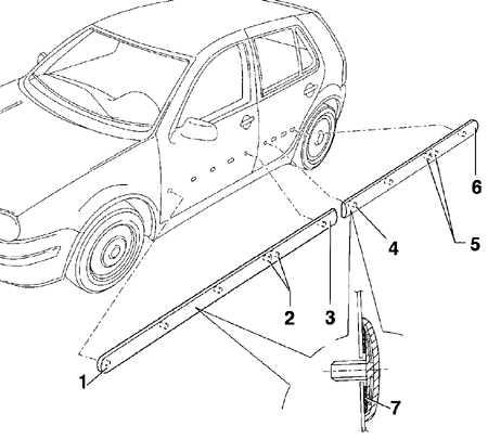 13.14 Снятие и установка боковой накладки кузова Volkswagen Golf IV