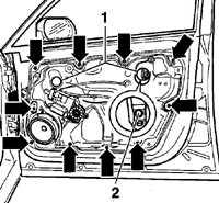13.15.8 Снятие и установка кронштейна двери Volkswagen Golf IV