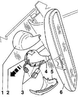 13.18.4 Снятие и установка зеркала заднего вида с датчиком дождя