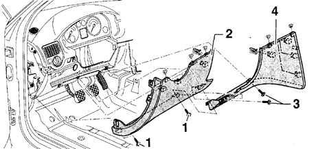 13.20 Снятие и установка верхней отделки в пространстве для ног водителя